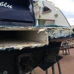 Fiberglass work. Rebuilding Fiberglass, stuccowork, painting and polishing in Sardinia