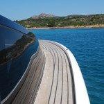 Teak deck, glueing teak slat or teak panel for motor boat in Sardinia. After Photo 2