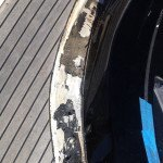 Teak deck, glueing teak slat or teak panel for motor boat in Sardinia. Before Photo4
