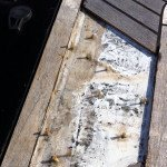 Teak deck, glueing teak slat or teak panel for motor boat in Sardinia. Before Photo6