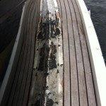 Teak deck, glueing teak slat or teak panel for motor boat in Sardinia. Before Photo2